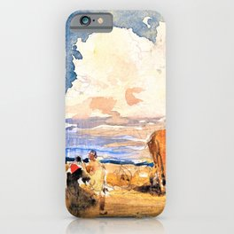 David Cox - Landscape with Gypsies and Wagon - Digital Remastered Edition iPhone Case