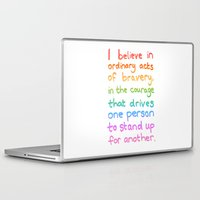 divergent Laptop & iPad Skins featuring Ordinary Acts of Bravery - Divergent Quote by Tangerine-Tane