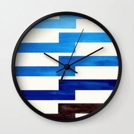 Minimalist Mid Century Circle Frame Prussian Blue Zig Zag Colorful Lightning Bolt Geometric Pattern Wall Clock