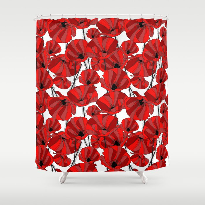Red Poppies Shower Curtain by chantalnathalie | Society6