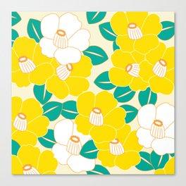 Shades of Tsubaki - Yellow & White Canvas Print