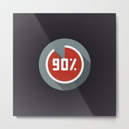 """Print illustration """"percentage - 90%"""" with long shadow in new modern flat design Metal Print"""