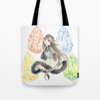 agnes cecile Tote Bags featuring Bravely Default Agnes & Crystals Watercolor by Aini