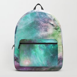 Abstract teal pink cosmic nebula space galaxy Backpack