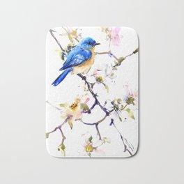 Bluebird and Dogwood, bird and flowers spring colors spring bird songbird design Bath Mat
