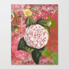 Vintage Camellia Floral Collage Canvas Print