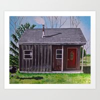 cabin Art Prints featuring Cabin by Minx Paints