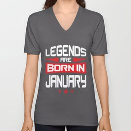 01 Legends Are Born In January Unisex V-Neck