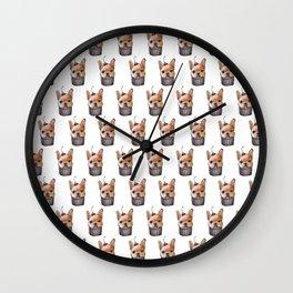"""Cherry on Pup"" Frenchi Cake Pattern Wall Clock"