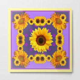 Golden Sunflowers Modern Art Purple Design Metal Print