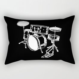Drum Kit Rock Black White Rectangular Pillow