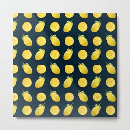 Watercolor Lemon Pattern Metal Print