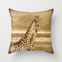 giraffes Throw Pillows featuring Giraffes by haroulita
