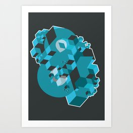 Ampersand Lost in Cubes Art Print