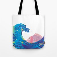 hokusai Tote Bags featuring Hokusai Rainbow & Jpanese Snapper  by FACTORIE