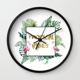 Aloha - Tropical Vibes Typography with Palm Leaves and Flamingo Wall Clock