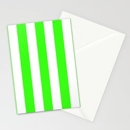 Neon green - solid color - white vertical lines pattern Stationery Cards