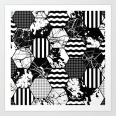 Hexual - Black and white, honeycomb, hexagon pattern, stripes, paint splats, grid and marble Art Print