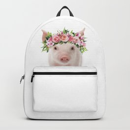 Baby Pig With Flower Crown, Baby Animals Art Print By Synplus Backpack