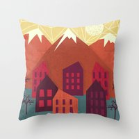 mountains Throw Pillows featuring Mountains by Kakel