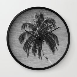 Palm Over Water Black and White Nature / Botanical Photograph Wall Clock