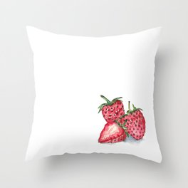 Watercolour Strawberries Throw Pillow