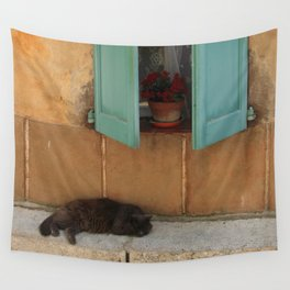 Snoozing Cat French Riviera Wall Tapestry