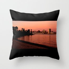 San Diego Skyline in Pink Throw Pillow