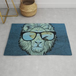 Stylish Lion Design with Moroccan Leather background Rug