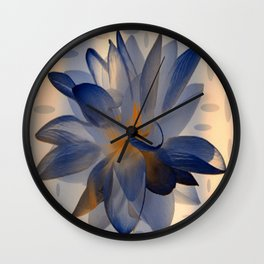 Midnight Blue Polka Dot Floral Abstract Wall Clock