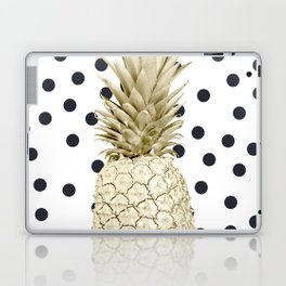 Gold Pineapple on Black and White Polka Dots Laptop & iPad Skin