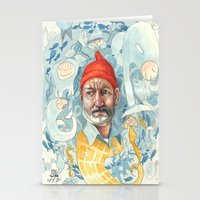 the life aquatic Stationery Cards featuring AQUATIC by busymockingbird