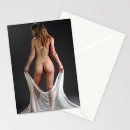 0760 Blond Art Model Lowers Sheer Fabric Drape Rear View Stationery Cards