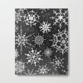 Gray Snowflakes Metal Print