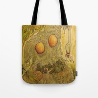pasta Tote Bags featuring Killer Pasta by Marcelo O. Maffei