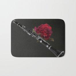 Black White Clarinet Red Rose Musical Instrument Wall Art A506 Bath Mat