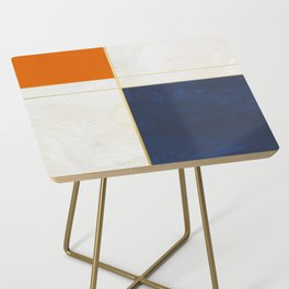 Orange, Blue And White With Golden Lines Abstract Painting Side Table