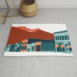Silverton Colorado Mountain Town - Red, Orange, Blue Rug
