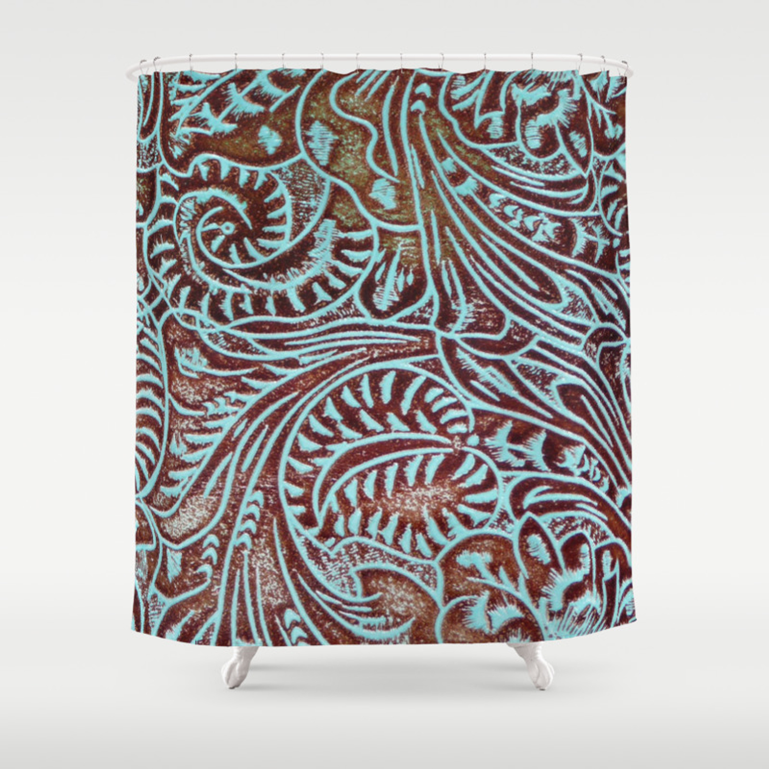 Light Blue Brown Tooled Leather Shower Curtain