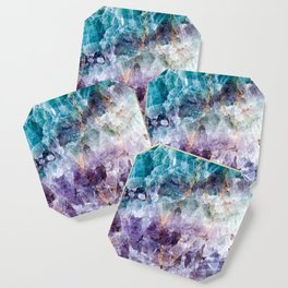 Turquoise & Purple Quartz Crystal Coaster