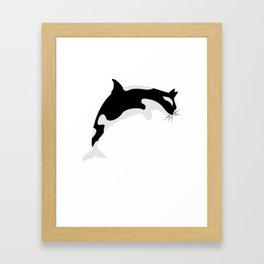 Orca Cat Funny Water Animal Gift Framed Art Print