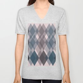 Confused Argyle in teal and rose - you might be drunk Unisex V-Neck