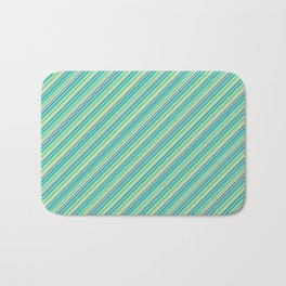 Lime Inclined Stripes Bath Mat