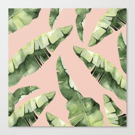 Banana Leaves 2 Green And Pink Canvas Print