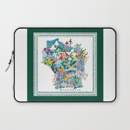 Wisconsin Wildflowers with border Laptop Sleeve