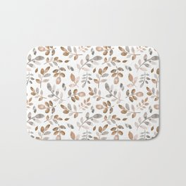 Watercolor brown fall autumn leaves floral Bath Mat