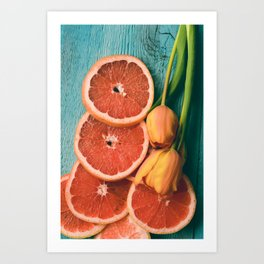 Grapefruit and Tulips Art Print