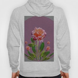 PUCE-GREY PINK ROSE GARDEN ART Hoody