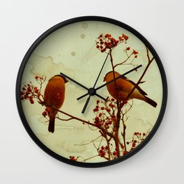 Winter birds bullfinch eat rowan berries Wall Clock