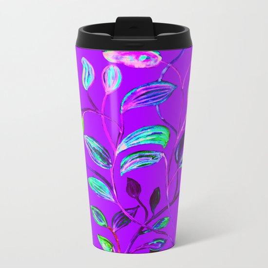 Neon Purple Pop Leaves Metal Travel Mug